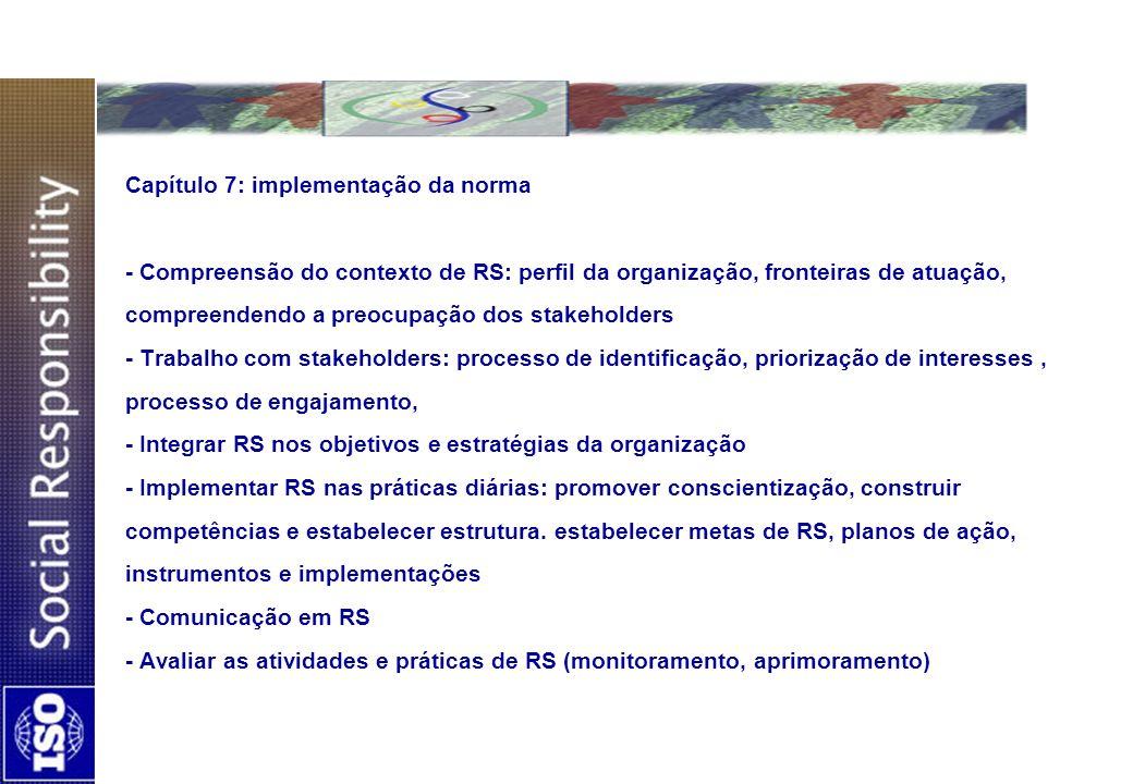 Capítulo 7: implementação da norma - Compreensão do contexto de RS: perfil da organização, fronteiras de atuação, compreendendo a preocupação dos stakeholders - Trabalho com stakeholders: processo de identificação, priorização de interesses , processo de engajamento, - Integrar RS nos objetivos e estratégias da organização - Implementar RS nas práticas diárias: promover conscientização, construir competências e estabelecer estrutura.