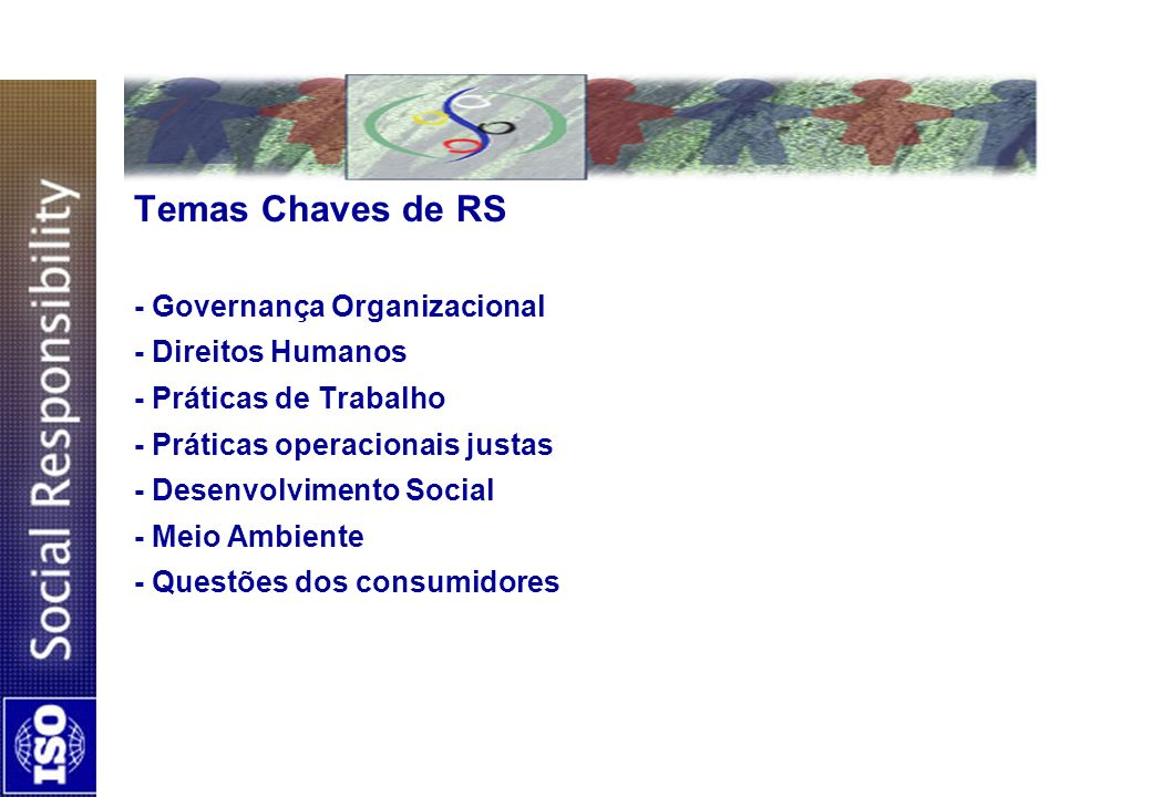 Temas Chaves de RS - Governança Organizacional - Direitos Humanos - Práticas de Trabalho - Práticas operacionais justas - Desenvolvimento Social - Meio Ambiente - Questões dos consumidores