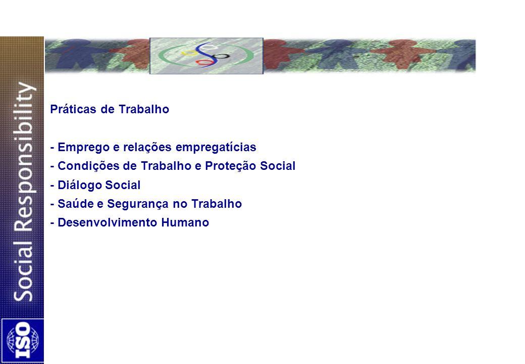 Práticas de Trabalho - Emprego e relações empregatícias - Condições de Trabalho e Proteção Social - Diálogo Social - Saúde e Segurança no Trabalho - Desenvolvimento Humano
