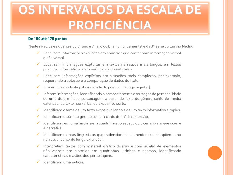 OS INTERVALOS DA ESCALA DE PROFICIÊNCIA