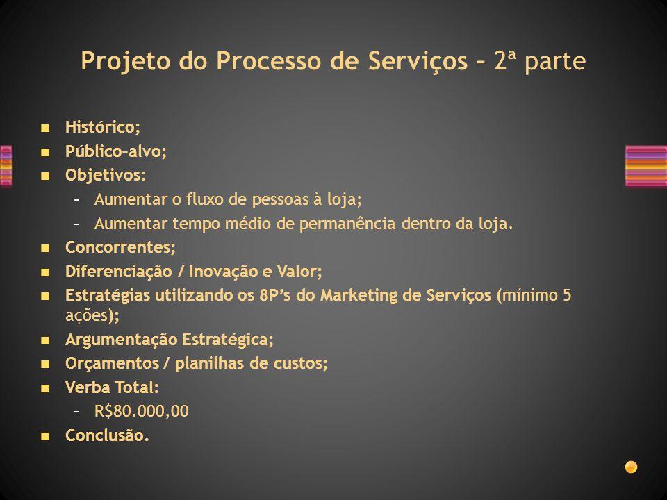 Projeto do Processo de Serviços – 2ª parte