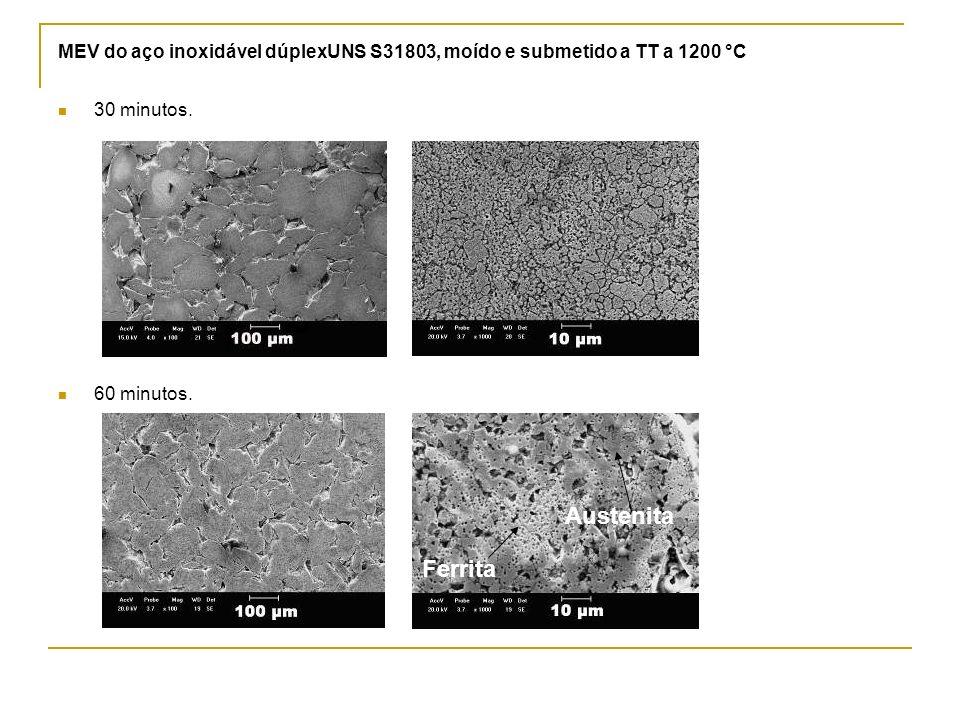 MEV do aço inoxidável dúplexUNS S31803, moído e submetido a TT a 1200 °C