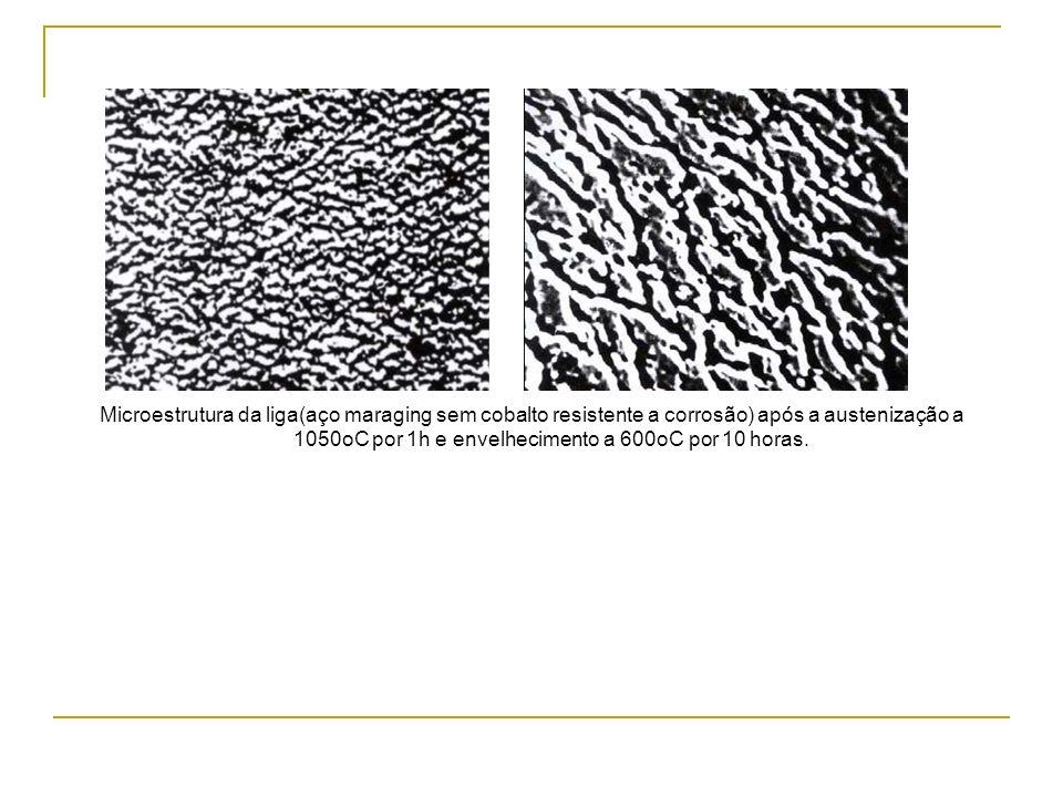 Microestrutura da liga(aço maraging sem cobalto resistente a corrosão) após a austenização а 1050oC por 1h e envelhecimento а 600oC por 10 horas.