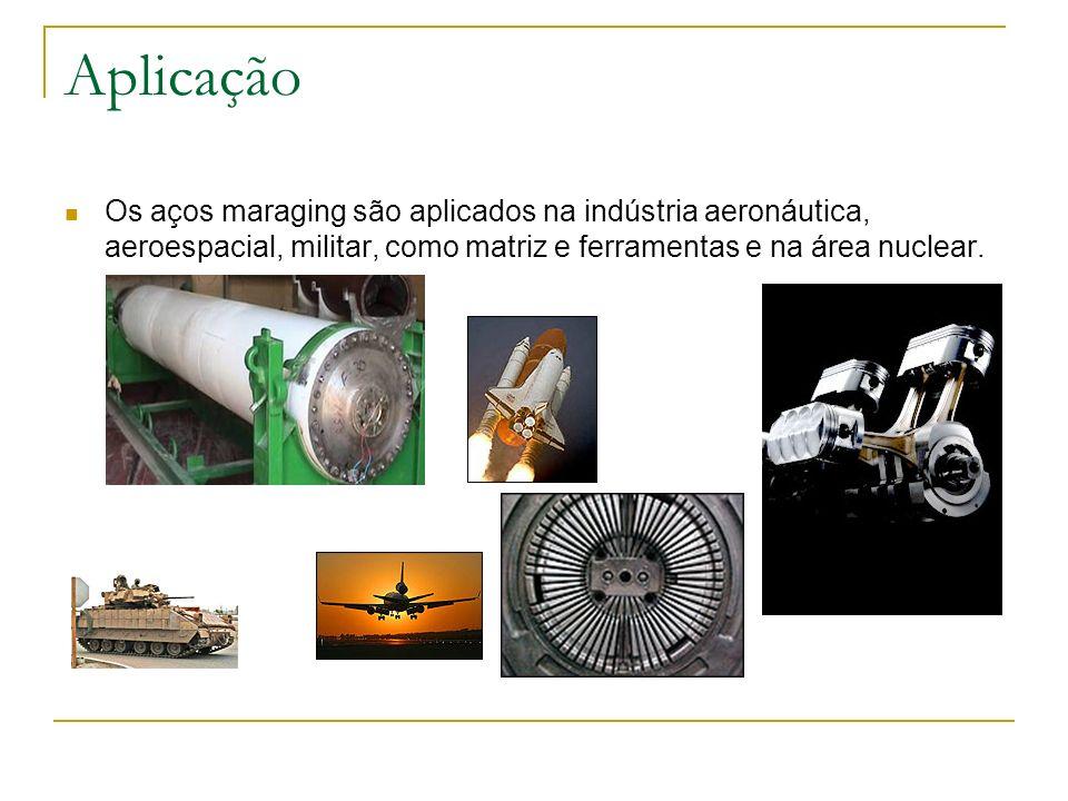 Aplicação Os aços maraging são aplicados na indústria aeronáutica, aeroespacial, militar, como matriz e ferramentas e na área nuclear.