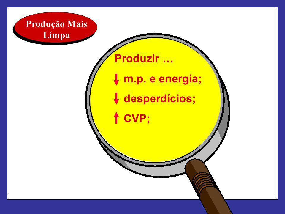 Produção Mais Limpa Produzir … m.p. e energia; desperdícios; CVP;