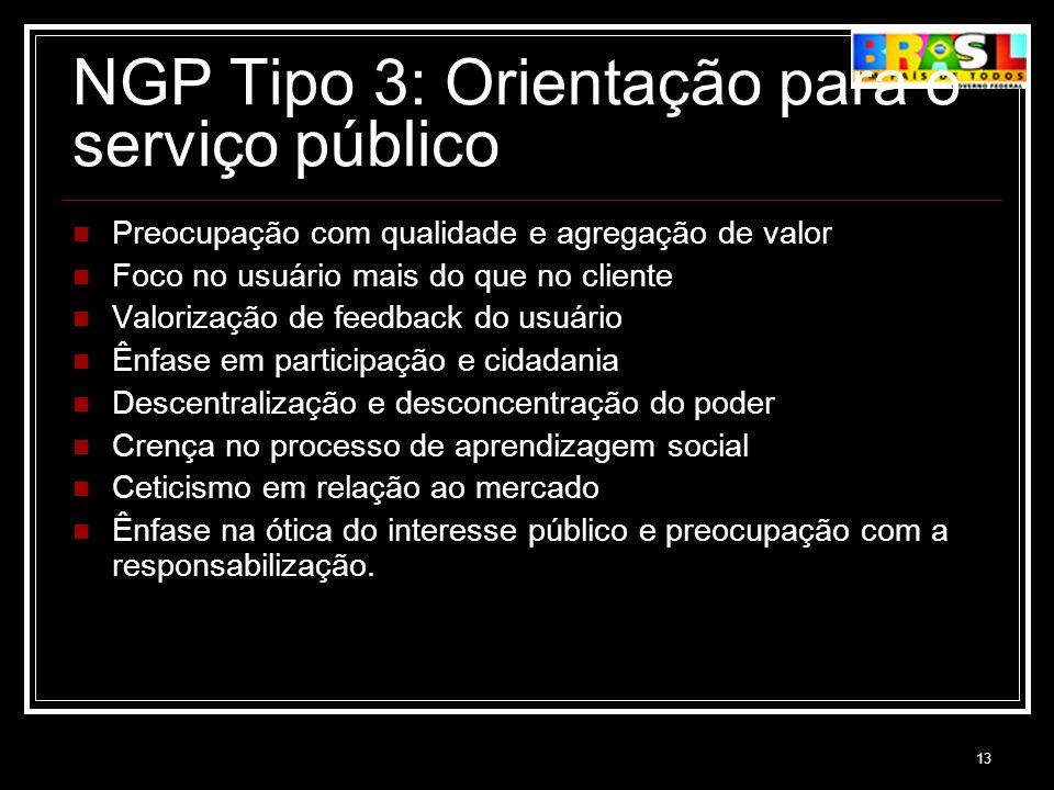 NGP Tipo 3: Orientação para o serviço público