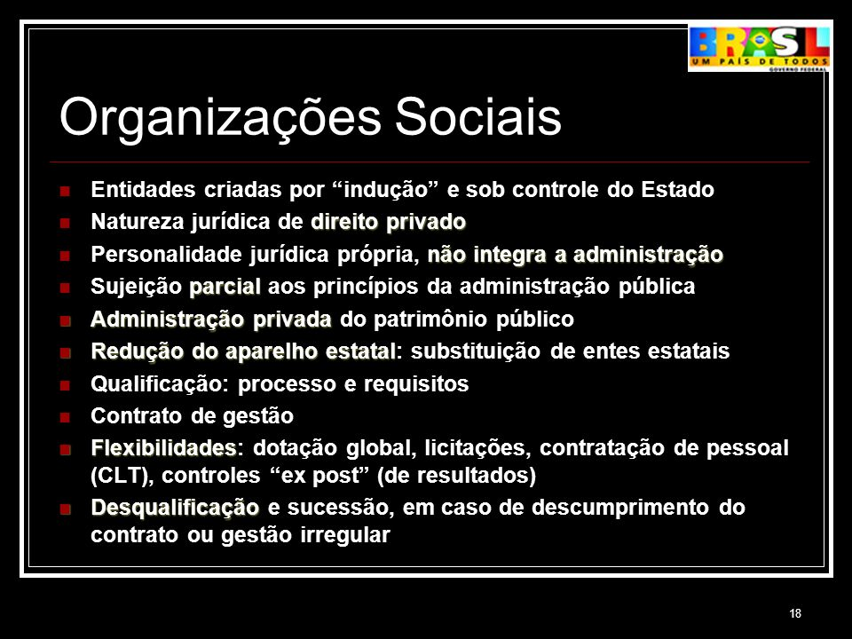Organizações Sociais Entidades criadas por indução e sob controle do Estado. Natureza jurídica de direito privado.