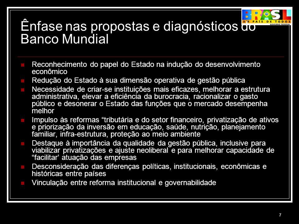 Ênfase nas propostas e diagnósticos do Banco Mundial