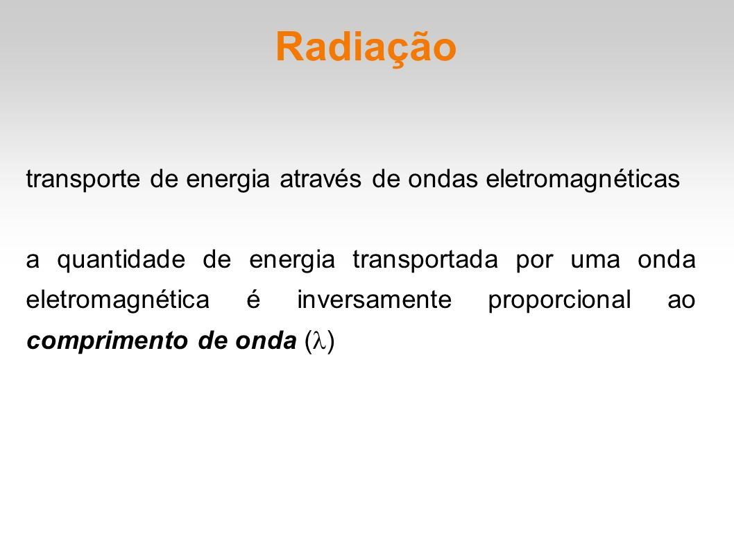 Radiação transporte de energia através de ondas eletromagnéticas