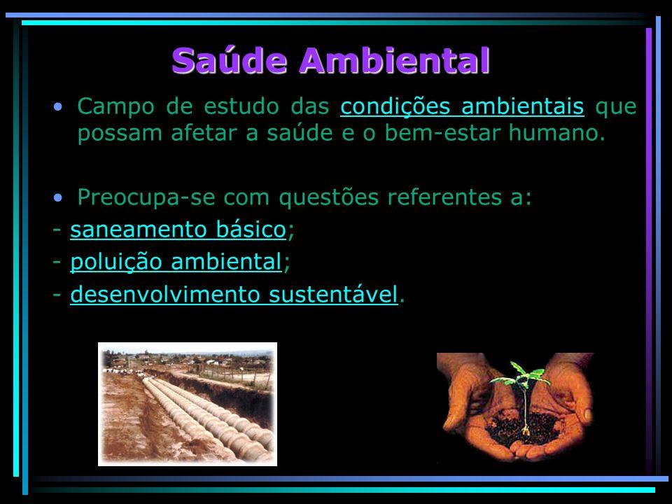 Saúde Ambiental Campo de estudo das condições ambientais que possam afetar a saúde e o bem-estar humano.