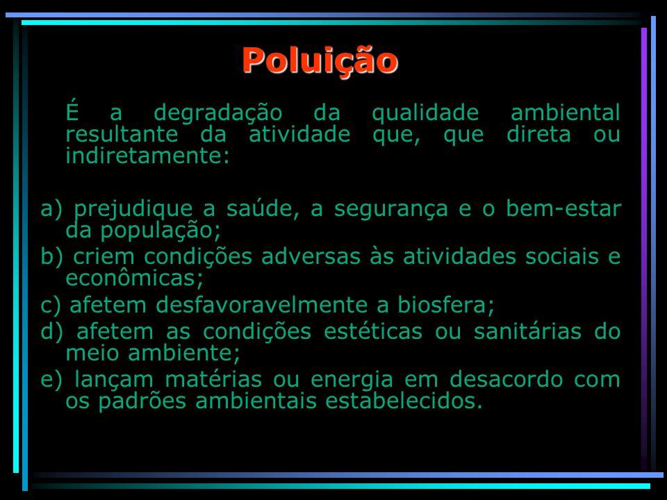 Poluição É a degradação da qualidade ambiental resultante da atividade que, que direta ou indiretamente: