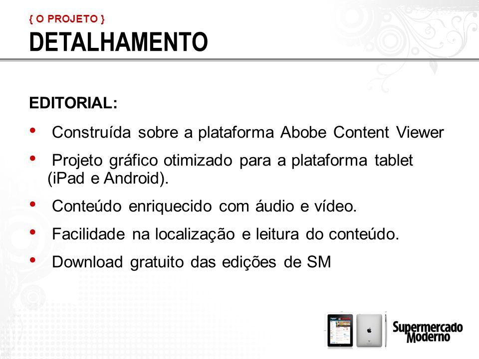 DETALHAMENTO Construída sobre a plataforma Abobe Content Viewer