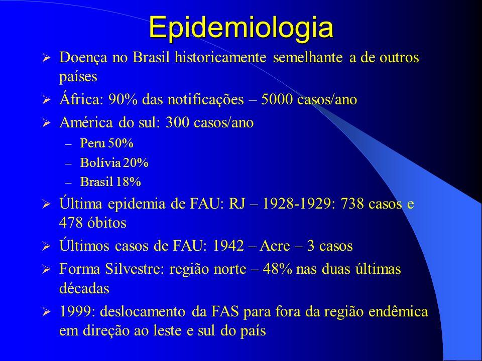 Epidemiologia Doença no Brasil historicamente semelhante a de outros países. África: 90% das notificações – 5000 casos/ano.