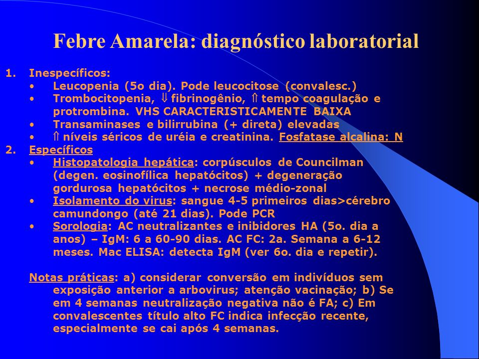 Febre Amarela: diagnóstico laboratorial