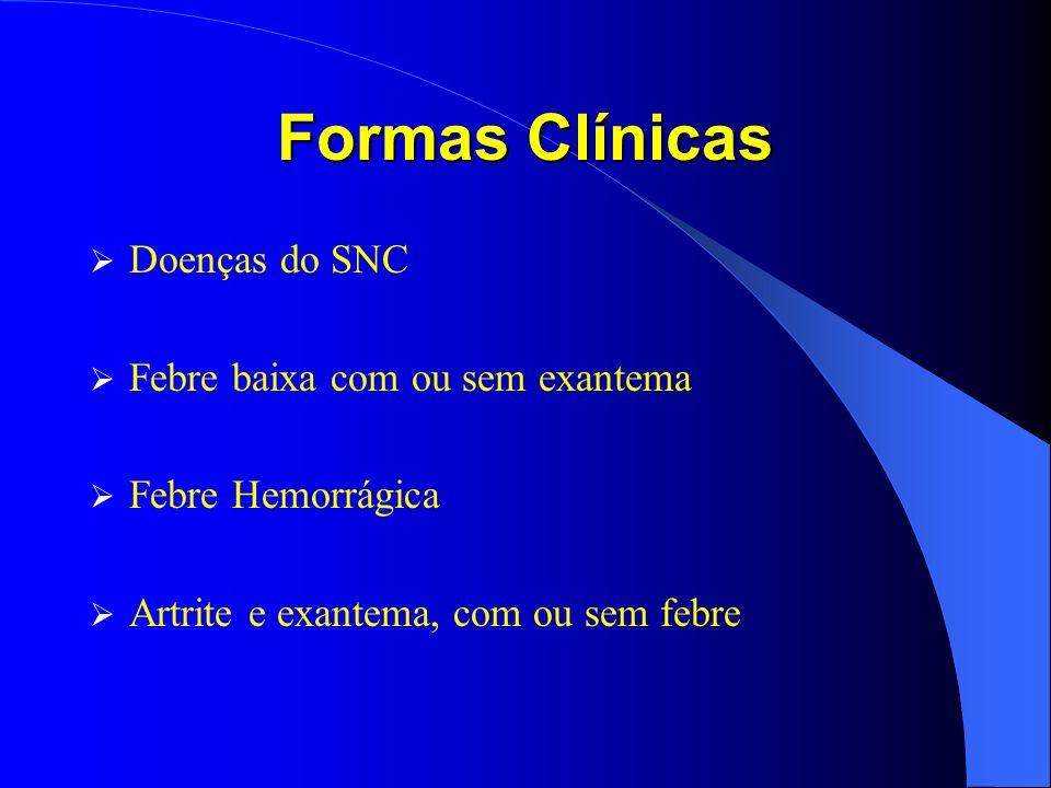 Formas Clínicas Doenças do SNC Febre baixa com ou sem exantema