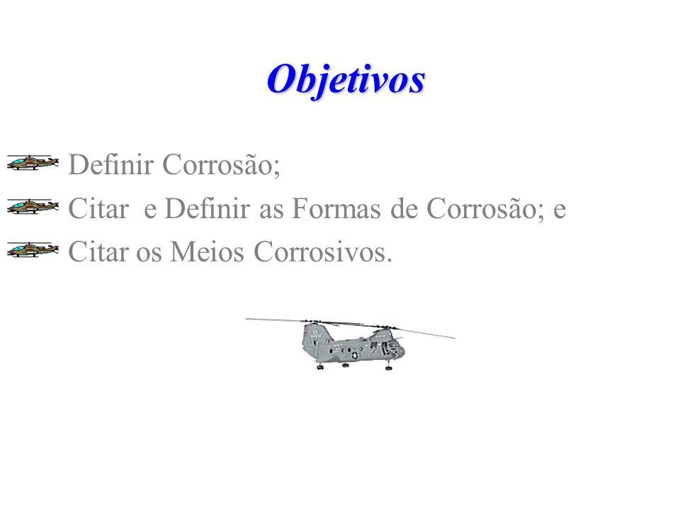 Objetivos Definir Corrosão; Citar e Definir as Formas de Corrosão; e
