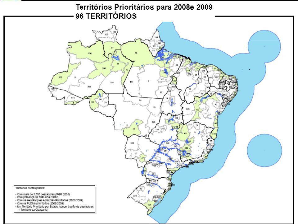 Territórios Prioritários para 2008e 2009