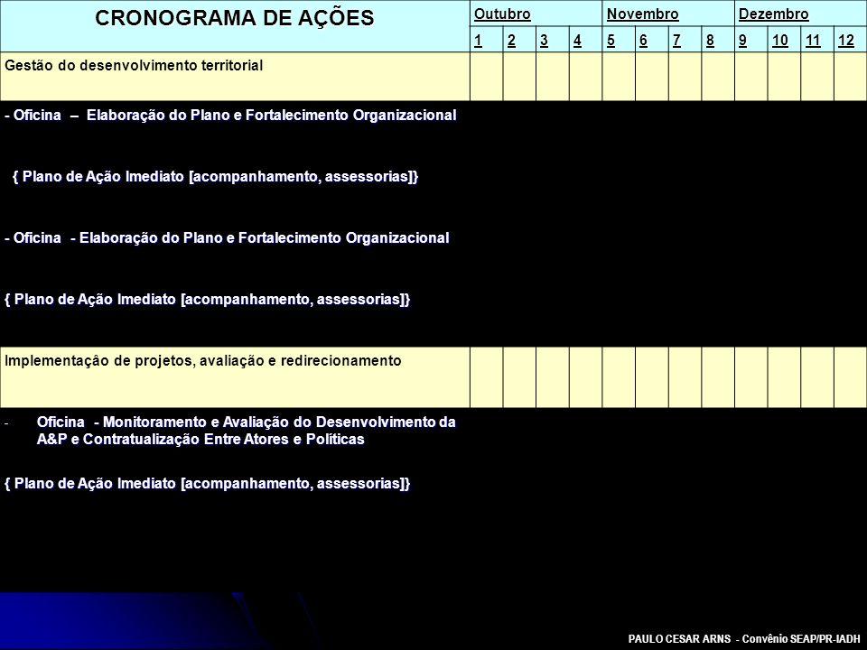 CRONOGRAMA DE AÇÕES Outubro Novembro Dezembro 1 2 3 4 5 6 7 8 9 10 11