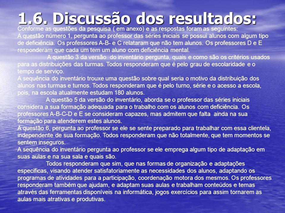 1.6. Discussão dos resultados: