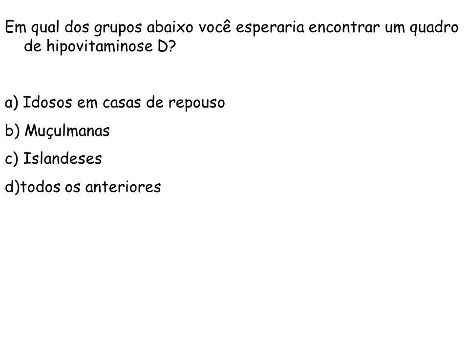 Em qual dos grupos abaixo você esperaria encontrar um quadro de hipovitaminose D