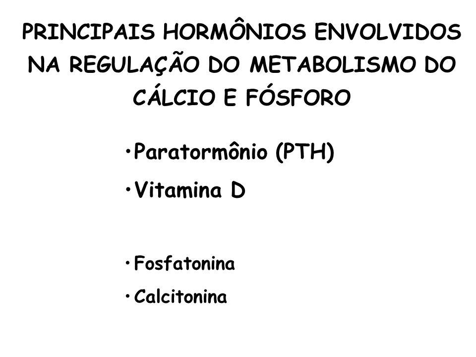 PRINCIPAIS HORMÔNIOS ENVOLVIDOS NA REGULAÇÃO DO METABOLISMO DO CÁLCIO E FÓSFORO