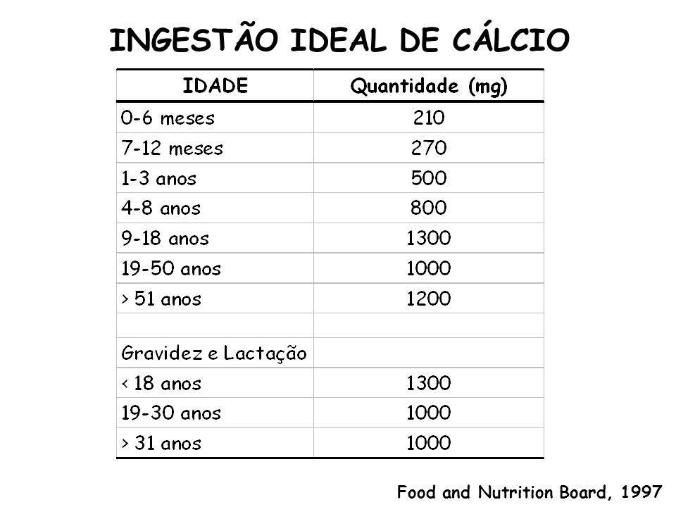 INGESTÃO IDEAL DE CÁLCIO