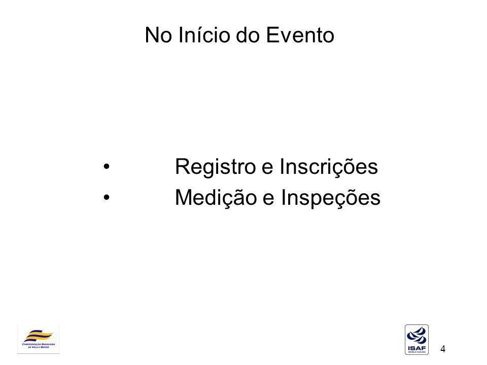 No Início do Evento Registro e Inscrições Medição e Inspeções Registro