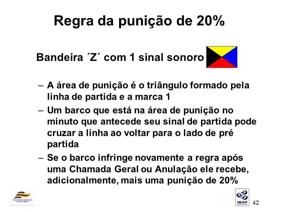 Regra da punição de 20% Bandeira ´Z´ com 1 sinal sonoro