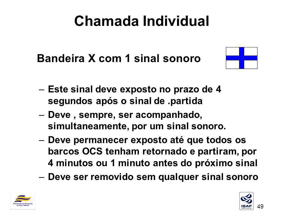 Chamada Individual Bandeira X com 1 sinal sonoro