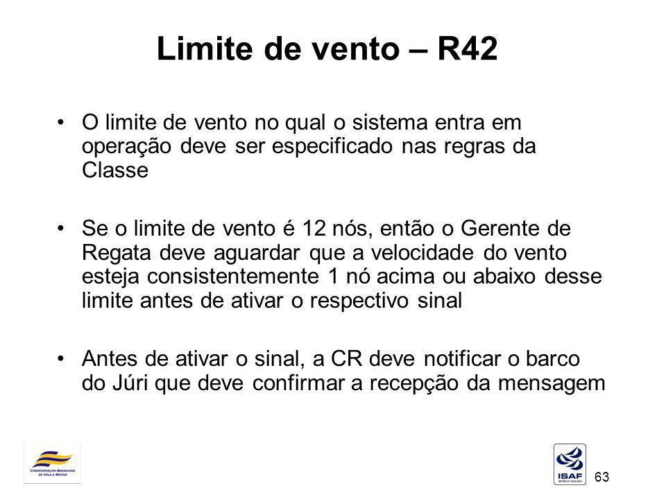Limite de vento – R42 O limite de vento no qual o sistema entra em operação deve ser especificado nas regras da Classe.