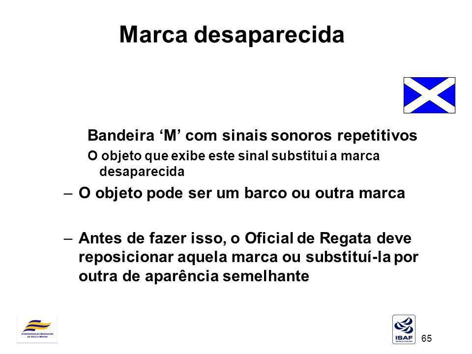Marca desaparecida Bandeira 'M' com sinais sonoros repetitivos