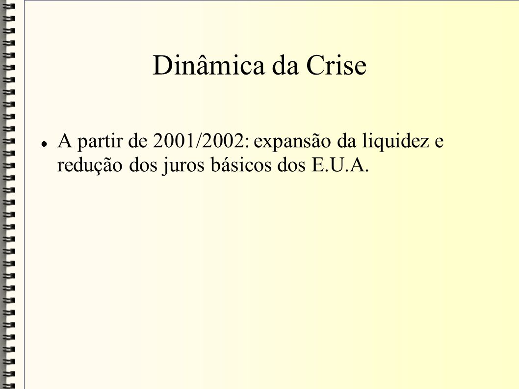 Dinâmica da Crise A partir de 2001/2002: expansão da liquidez e redução dos juros básicos dos E.U.A.