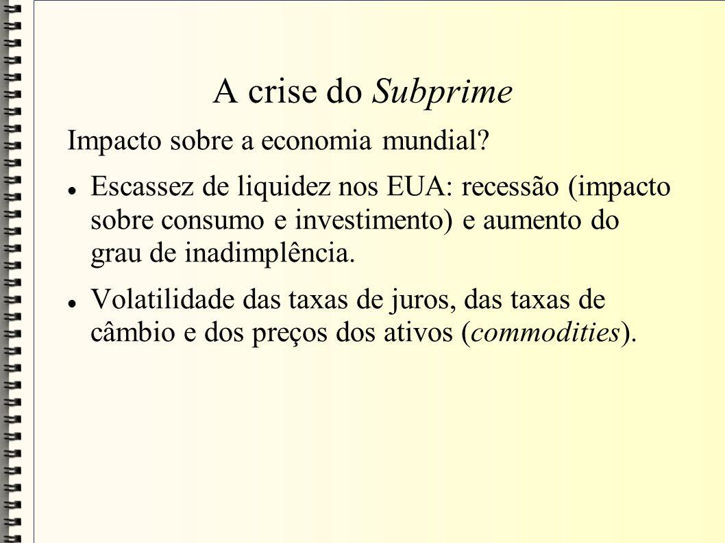 A crise do Subprime Impacto sobre a economia mundial