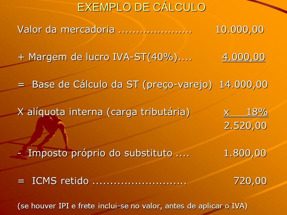 EXEMPLO DE CÁLCULO Valor da mercadoria ..................... 10.000,00
