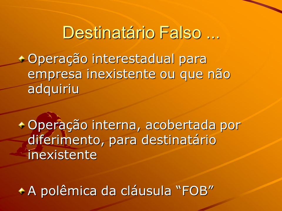 Destinatário Falso ... Operação interestadual para empresa inexistente ou que não adquiriu.
