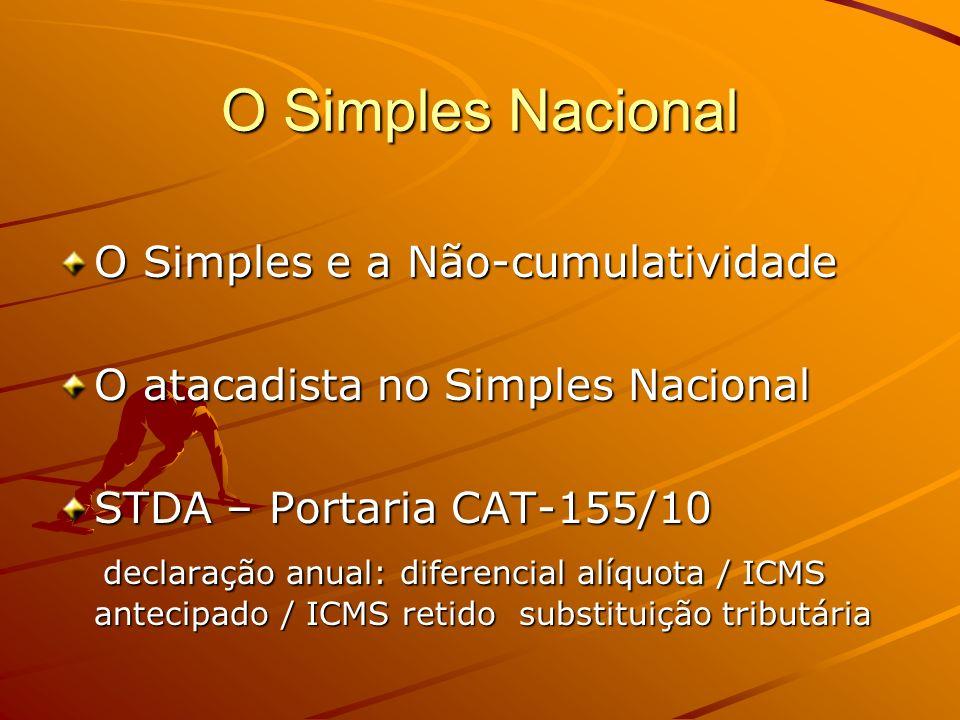 O Simples Nacional O Simples e a Não-cumulatividade