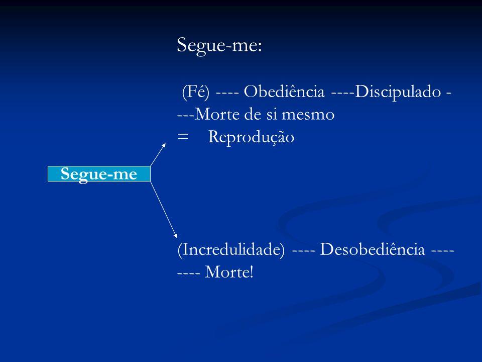 Segue-me: (Fé) ---- Obediência ----Discipulado ----Morte de si mesmo = Reprodução.