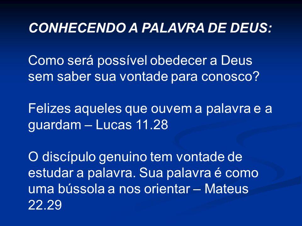 CONHECENDO A PALAVRA DE DEUS: