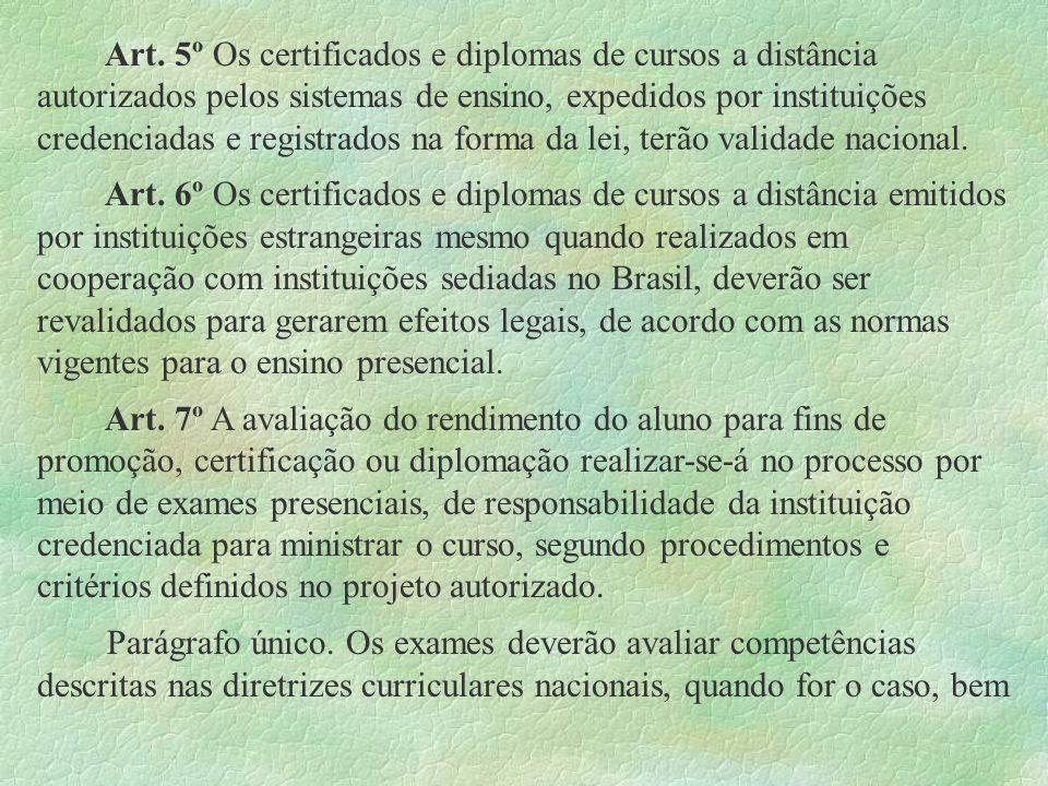 Art. 5º Os certificados e diplomas de cursos a distância autorizados pelos sistemas de ensino, expedidos por instituições credenciadas e registrados na forma da lei, terão validade nacional.