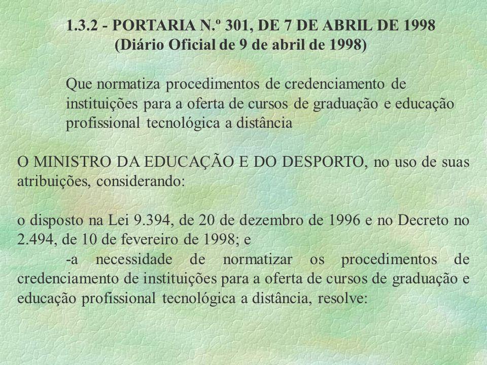 1.3.2 - PORTARIA N.º 301, DE 7 DE ABRIL DE 1998