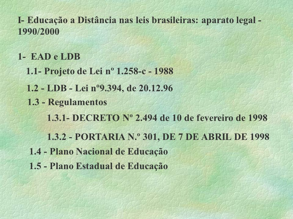 I- Educação a Distância nas leis brasileiras: aparato legal -