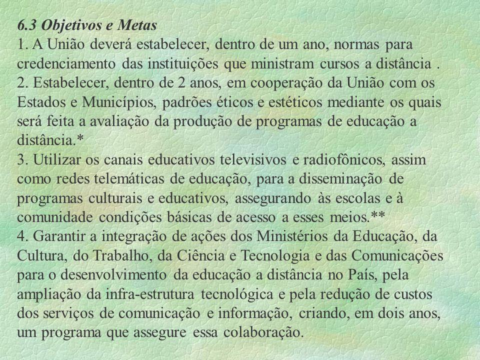 6.3 Objetivos e Metas1. A União deverá estabelecer, dentro de um ano, normas para credenciamento das instituições que ministram cursos a distância .