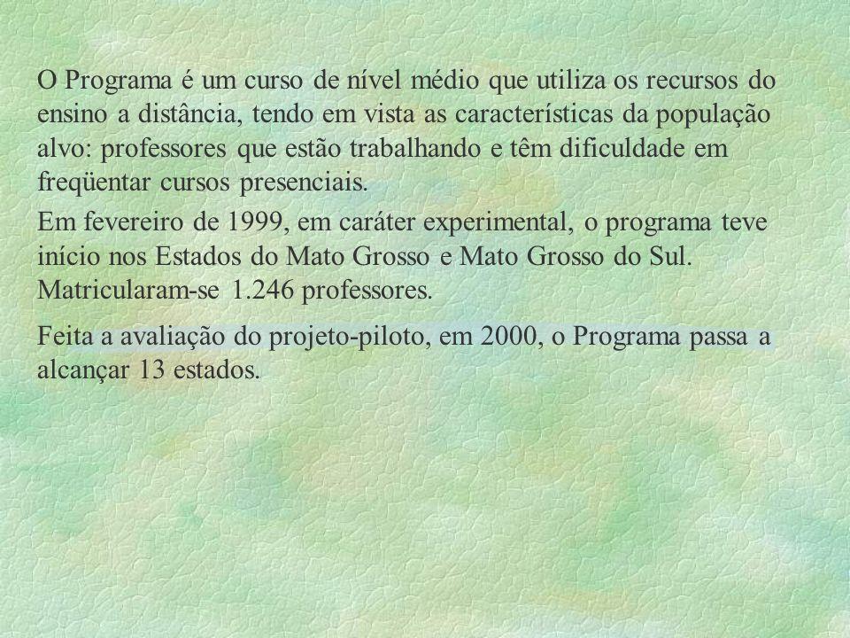 O Programa é um curso de nível médio que utiliza os recursos do ensino a distância, tendo em vista as características da população alvo: professores que estão trabalhando e têm dificuldade em freqüentar cursos presenciais.