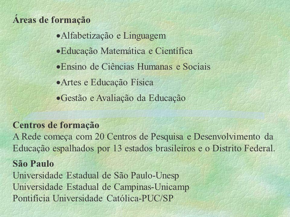 Áreas de formação Alfabetização e Linguagem. Educação Matemática e Científica. Ensino de Ciências Humanas e Sociais.
