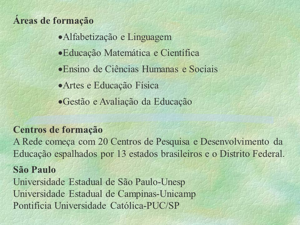 Áreas de formaçãoAlfabetização e Linguagem. Educação Matemática e Científica. Ensino de Ciências Humanas e Sociais.