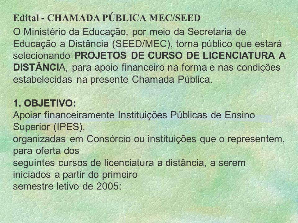 Edital - CHAMADA PÚBLICA MEC/SEED