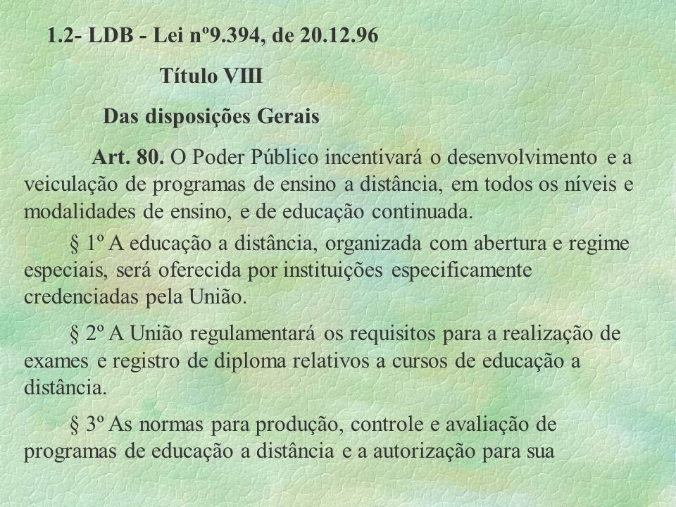 1.2- LDB - Lei nº9.394, de 20.12.96 Título VIII. Das disposições Gerais.
