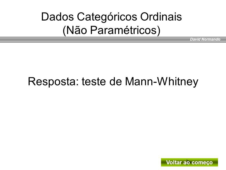 Dados Categóricos Ordinais (Não Paramétricos)