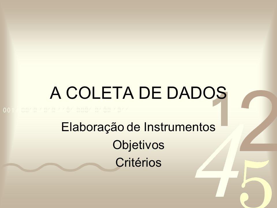 Elaboração de Instrumentos Objetivos Critérios