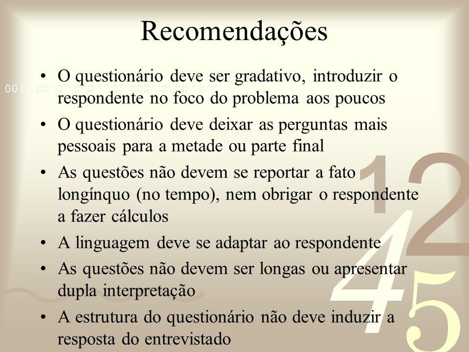 Recomendações O questionário deve ser gradativo, introduzir o respondente no foco do problema aos poucos.